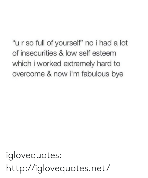"""Im Fabulous: """"u r so full of yourself"""" no i had a lot  of insecurities & low self esteem  which i worked extremely hard to  overcome & now i'm fabulous bye iglovequotes:  http://iglovequotes.net/"""