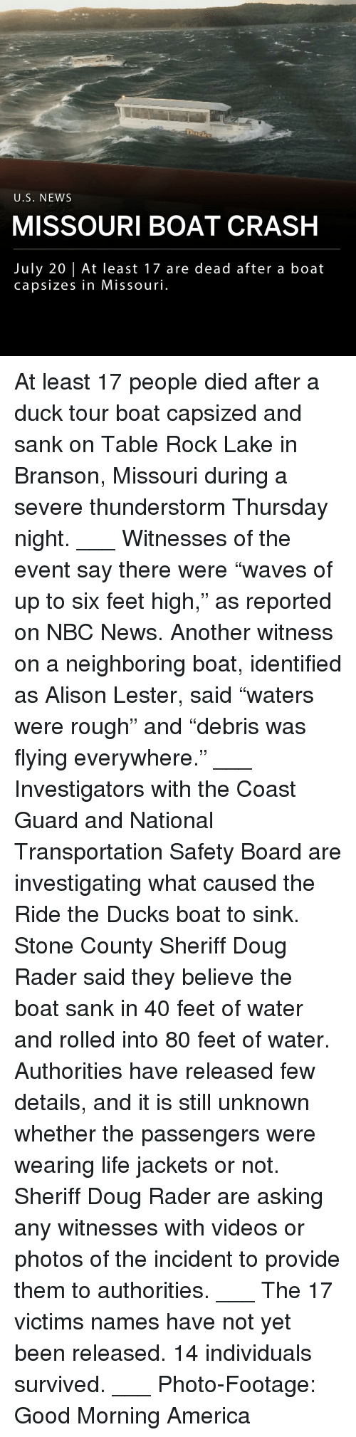 """America, Doug, and Life: U.S. NEWS  MISSOURI BOAT CRASH  July 20 