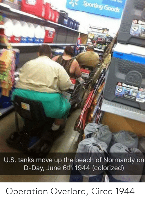 overlord: U.S. tanks move up the beach of Normandy on  D-Day, June 6th 1944 (colorized) Operation Overlord, Circa 1944