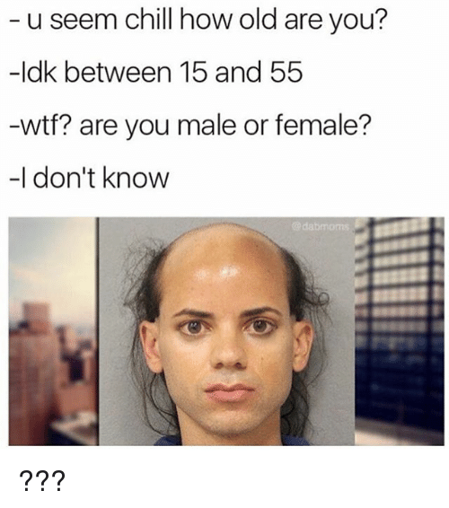 Chill, Wtf, and Old: u seem chill how old are you?  -ldk between 15 and 55  wtf? are you male or female?  -I don't know  @dabmoms ???