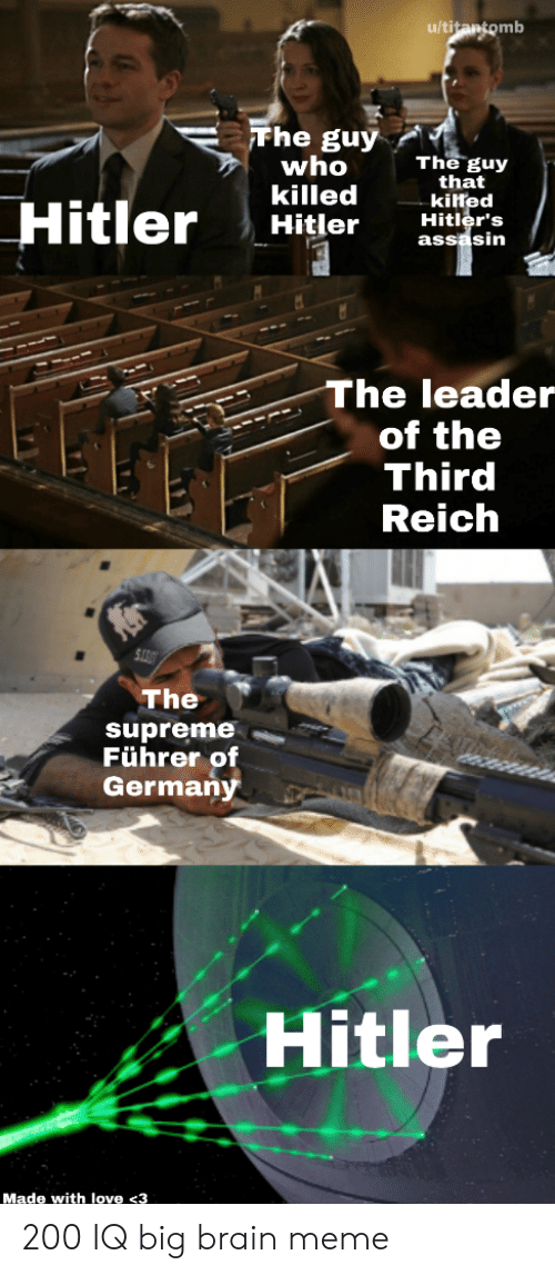 the supreme: u/titantomb  Fhe guy  who  killed  Hitler  The guy  that  kilted  Hitler's  assasin  Hitler  The leader  of the  Third  Reich  The  supreme  Führer of  Germany  Hitler  Made with love <3 200 IQ big brain meme