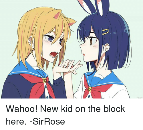 new kids on the block: U Wahoo! New kid on the block here. -SirRose