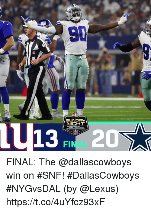 Lexus, Memes, and 🤖: U13 20  NICHT  FINAL FINAL: The @dallascowboys win on #SNF! #DallasCowboys #NYGvsDAL  (by @Lexus) https://t.co/4uYfcz93xF