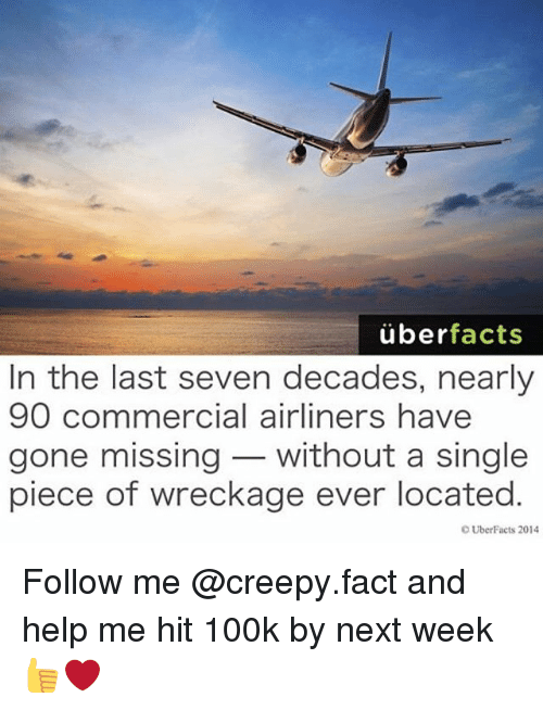 Uber Facts: uber  facts  In the last seven decades, nearly  90 commercial airliners have  gone missing without a single  piece of wreckage ever located  OUberFacts 2014 Follow me @creepy.fact and help me hit 100k by next week 👍❤