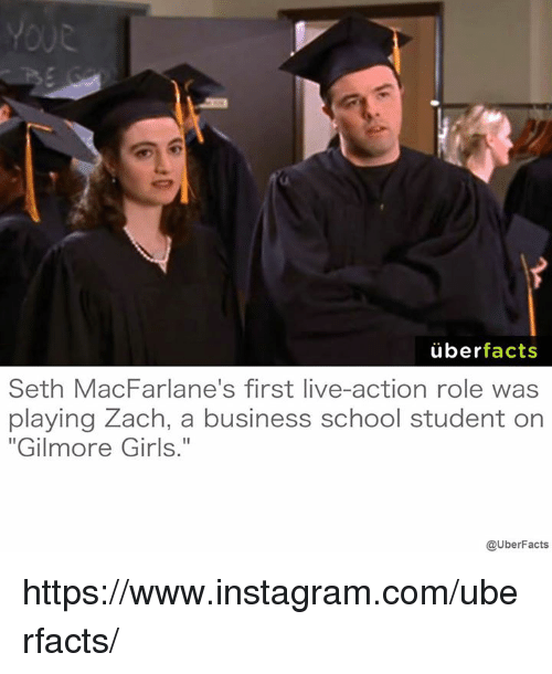 "Gilmore Girls: uber  facts  Seth MacFarlane's first live-action role was  playing Zach, a business school student on  ""Gilmore Girls.""  @UberFacts https://www.instagram.com/uberfacts/"