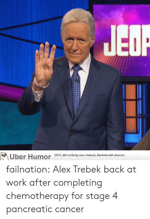 flying cars: Uber Humor  2013, still no flying cars. Instead, blankets with sleeves. failnation:  Alex Trebek back at work after completing chemotherapy for stage 4 pancreatic cancer
