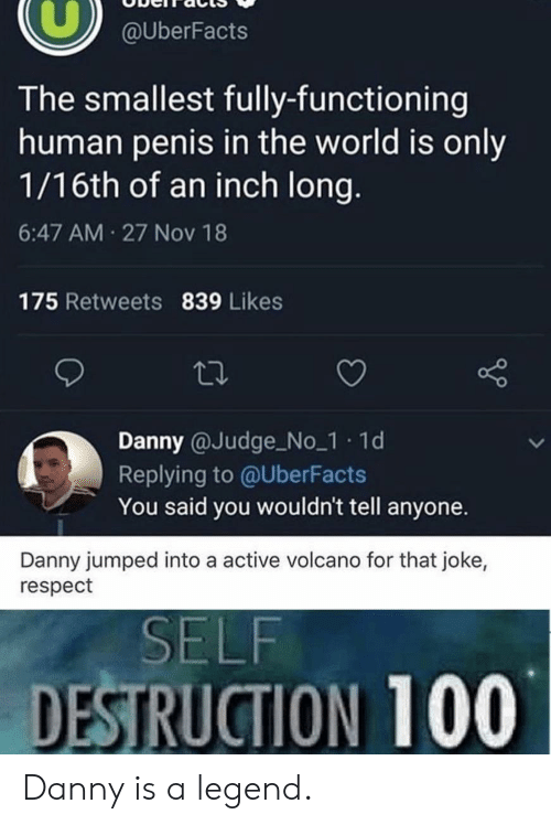 Volcano: @UberFacts  The smallest fully-functioning  human penis in the world is only  1/16th of an inch long.  6:47 AM 27 Nov 18  175 Retweets 839 Likes  Danny @Judge No_1 1d  Replying to @UberFacts  You said you wouldn't tell anyone.  Danny jumped into a active volcano for that joke,  respect  SELF  DESTRUCTION 100 Danny is a legend.