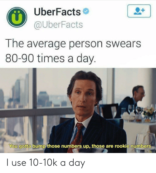times-a-day: UberFacts  @UberFacts  1  The average person swears  80-90 times a day.  You gotta bump those numbers up, those are rookie numbers I use 10-10k a day