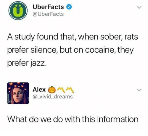 Dank, Cocaine, and Information: UberFacts  @UberFacts  A study found that, when sober, rats  prefer silence, but on cocaine, they  prefer jazz  Alex  @_vivid_dreams  What do we do with this information