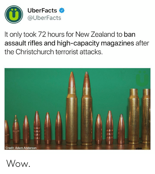 Assault Rifles: UberFacts  @UberFacts  It only took 72 hours for New Zealand to ban  assault rifles and high-capacity magazines after  the Christchurch terrorist attacks.  Credit: Adam Anderson Wow.