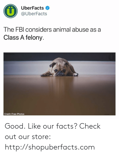 Uberfacts: UberFacts  @UberFacts  The FBl considers animal abuse as a  Class A felony.  Credit: Free-Photos Good.  Like our facts? Check out our store: http://shopuberfacts.com