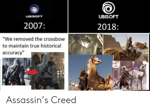 "Historical: UBISOFT  UBISOFT  2007:  2018:  ""We removed the crossbow  to maintain true historical  accuracy"" Assassin's Creed"