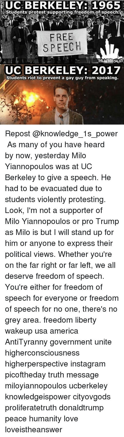 Memes, Politics, and UC Berkeley: UC BERKELEY: 1965  Students protest supporting freedom of speech  FREE  SPEECH  UC BERKELEY: 2017  Students riot to prevent a gay guy from speaking. Repost @knowledge_1s_power ・・・ As many of you have heard by now, yesterday Milo Yiannopoulos was at UC Berkeley to give a speech. He had to be evacuated due to students violently protesting. Look, I'm not a supporter of Milo Yiannopoulos or pro Trump as Milo is but I will stand up for him or anyone to express their political views. Whether you're on the far right or far left, we all deserve freedom of speech. You're either for freedom of speech for everyone or freedom of speech for no one, there's no grey area. freedom liberty wakeup usa america AntiTyranny government unite higherconsciousness higherperspective instagram picoftheday truth message miloyiannopoulos ucberkeley knowledgeispower cityovgods proliferatetruth donaldtrump peace humanity love loveistheanswer