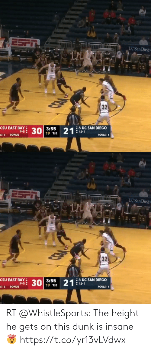 uc san diego: UC San Diego  32  :6 UC SAN DIEGO  21: 12-1  CSU EAST BAY  9-5: 30 19 1st  FOULS: 6  S: 5 BONUS   UC San Diego  32  6 UC SAN DIEGO  12-1  CSU EAST BAY  3:55  9-5: 30 19 1st  21  FOULS: 6  S: 5 BONUS RT @WhistleSports: The height he gets on this dunk is insane 🤯 https://t.co/yr13vLVdwx