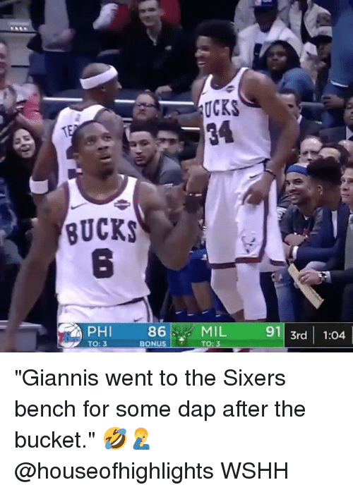 "Memes, Wshh, and Sixers: UCKS  BUCKS  8  86  BONUS  MIL  TO: 3  91 3rd 1:04  PHI  TO: 3 ""Giannis went to the Sixers bench for some dap after the bucket."" 🤣🤦‍♂️ @houseofhighlights WSHH"