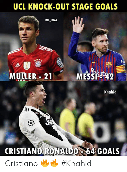 ucl: UCL KNOCK-OUT STAGE GOALS  RM DNA  MULLER.. 21  MESSigt42  Knahid  CRISTIANO64 GOALS  RONALDO Cristiano 🔥🔥  #Knahid