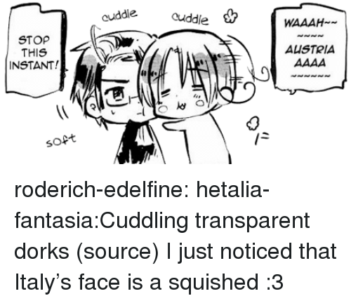 fantasia: uddle cuddlie WAAAH  STOP  THIS  INSTANT!  AUSTRIA  ia  ja  soft roderich-edelfine:  hetalia-fantasia:Cuddling transparent dorks (source) I just noticed that Italy's face is a squished :3