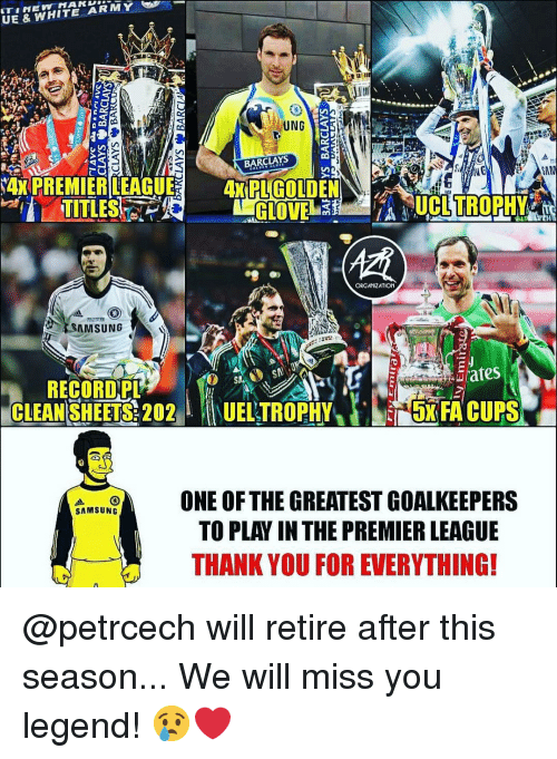 """Barclays: UE & WHITE ARMY  UNG  BARCLAYS  TITLES  ORGANIZATION  SAMSUNG  RECORD,PL  CLEAN SHEETS: 202""""  1UELTROPHY/).s5xFA CUPS  ONE OF THE GREATEST GOA  LKEEPERS  TO PLAY IN THE PREMIER LEAGUE  THANK YOU FOR EVERYTHING! @petrcech will retire after this season... We will miss you legend! 😢❤️"""