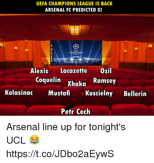 Arsenal, Memes, and Champions League: UEFA CHAMPIONS LEAGUE IS BACK  ARSENAL FC PREDICTED XI  CHAMPIONS  LEAGUE,  Alexis Lacazette Ozil  Coquelin Xhaka  Kolasinac Mustafi Koscielny Bellerin  Petr Cech Arsenal line up for tonight's UCL 😂 https://t.co/JDbo2aEywS