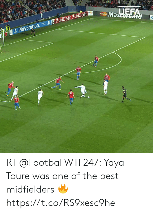sony playstation: UEFA  Mastercard  UEFA  asterCard  QUniCredit UniCredit  SONY  PlayStation RT @FootballWTF247: Yaya Toure was one of the best midfielders 🔥  https://t.co/RS9xesc9he