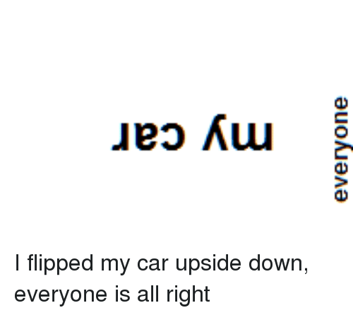 Punny, Flipped, and Flip: ueo Kuu I flipped my car upside down, everyone is all right