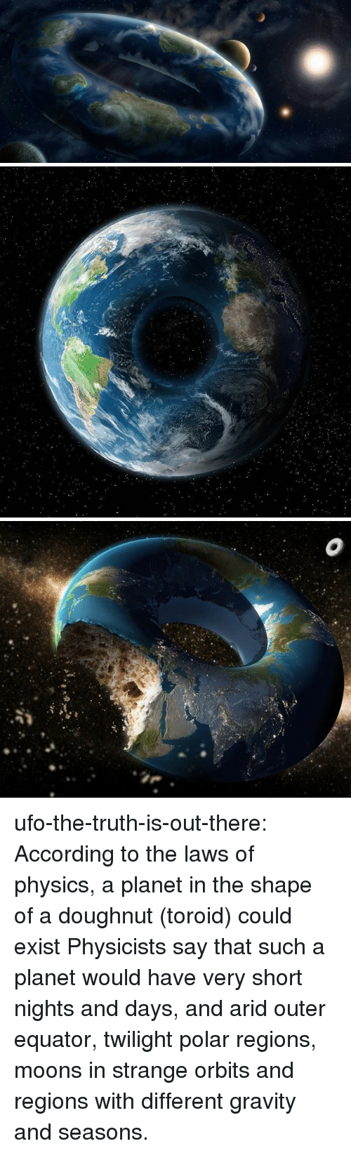 Twilight: ufo-the-truth-is-out-there: According to the laws of physics, a planet in the shape of a doughnut (toroid) could exist Physicists say that such a planet would have very short nights and days, and arid outer equator, twilight polar regions, moons in strange orbits and regions with different gravity and seasons.