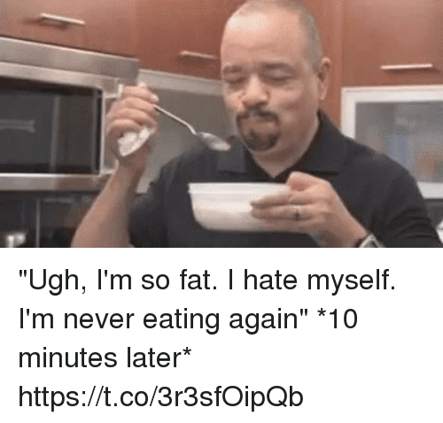 """Funny, Fat, and 10 Minutes Later: """"Ugh, I'm so fat. I hate myself. I'm never eating again""""  *10 minutes later* https://t.co/3r3sfOipQb"""