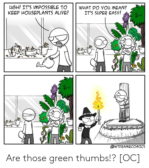 thumbs: UGH! IT'S IMPOSSIBLE TO  KEEP HOUSEPLANTS ALIVE!  WHAT DO YOu MEAN?  IT'S SUPER EASY!  wTITU INLAR  @WTFRAMECOMICS Are those green thumbs!? [OC]