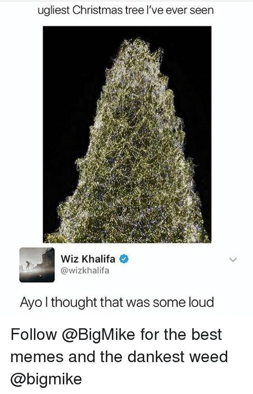 Dankest Weed: ugliest Christmas tree l've ever seen  Wiz Khalifa e  @wizkhalifa  Ayo l thought that was some loud Follow @BigMike for the best memes and the dankest weed @bigmike