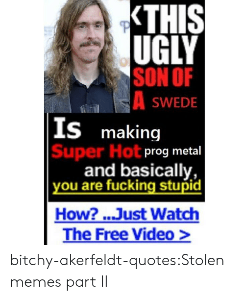 swede: UGLY  SON OF  SWEDE  S making  Super Hot  prog metal  and basically,  ou are fucking stupid  How? ..Just Watch  The Free Video> bitchy-akerfeldt-quotes:Stolen memes part II