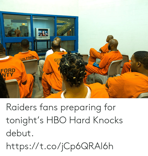 HBO: UILFORD  GU  CP  FORD  NTY  HAT Raiders fans preparing for tonight's HBO Hard Knocks debut. https://t.co/jCp6QRAl6h