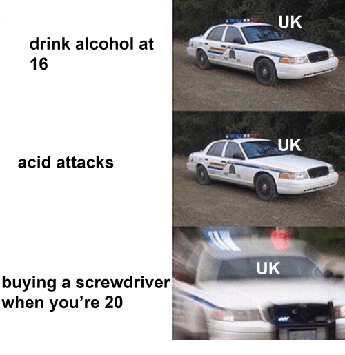 Alcohol, Acid, and Screwdriver: UK  drink alcohol at  16  ,A  UK  acid attacks  UK  buying a screwdriver  when vou're 20