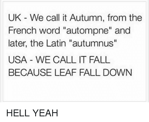 """Its Fall: UK We call it Autumn, from the  French word """"autompne"""" and  later, the Latin """"autumnus""""  USA WE CALL IT FALL  BECAUSE LEAF FALL DOWN HELL YEAH"""