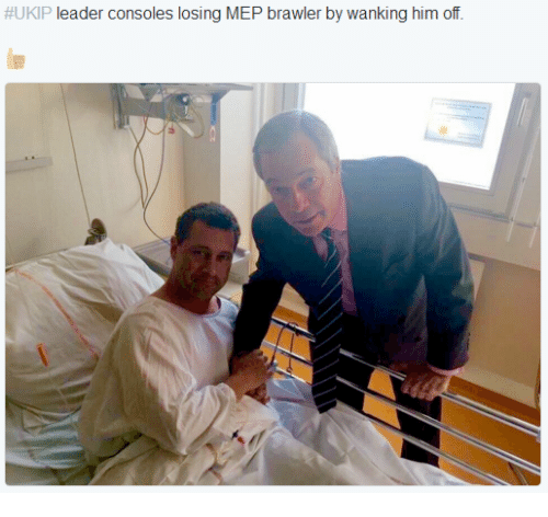 Wankes:  #UKIP leader consoles losing MEP brawler by wanking him off.