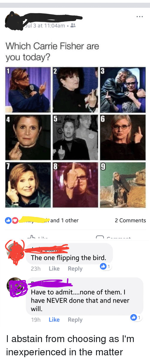 flipping the bird: ul 3 at 11:04am  Which Carrie Fisher are  you today?  6  b. and 1 other  2 Comments   The one flipping the bird  23h Like Reply  Have to admit....none of them. I  have NEVER done that and never  will  19h Like Reply I abstain from choosing as I'm inexperienced in the matter