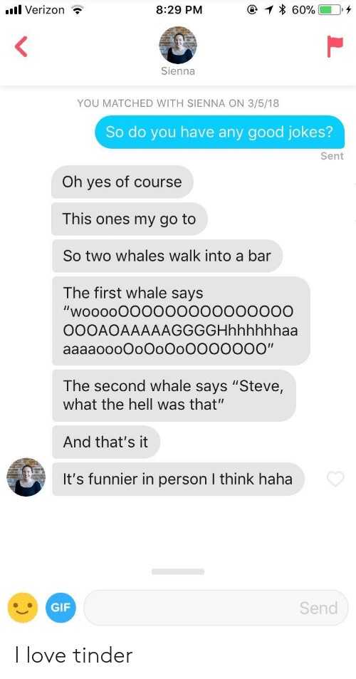 "The Hell Was That: ul Verizon  8:29 PM  Sienna  YOU MATCHED WITH SIENNA ON 3/5/18  So do you have any good jokes?  Sent  Oh yes of course  This ones my go to  So two whales walk into a bar  The first whale says  ""woo00000o0000  OOOAOAAAAAGGGGHhhhhhhaa  aaaaoooDoOoOoOOOOOOO""  The second whale says ""Steve,  what the hell was that""  And that's it  It's funnier in person I think haha  GIF  Send I love tinder"