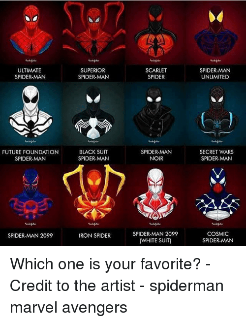 Future, Memes, and Spider: ULTIMATE  SPIDER-MAN  FUTURE FOUNDATION  SPIDER-MAN  SPIDER-MAN 2099  SUPERIOR  SPIDER MAN  BLACK SUIT  SPIDER MAN  IRON SPIDER  SCARLET  SPIDER  SPIDER-MAN  NOIR  SPIDER-MAN 2099  (WHITE SUIT)  SPIDER-MAN  UNLIMITED  SECRET WARS  SPIDER MAN  COSMIC  SPIDER-MAN Which one is your favorite? - Credit to the artist - spiderman marvel avengers