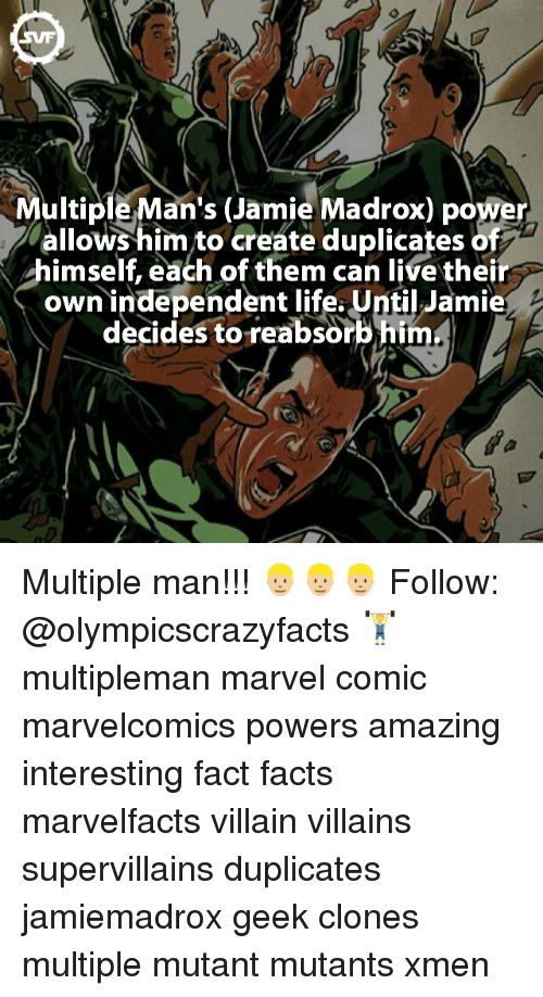 Jami: ultiple Man's (Jamie Madrox) power  allows him to create duplicates of  himself, each of them can live thei  own independent life. Until Jamie  decides to reabsorb him Multiple man!!! 👱🏼👱🏼👱🏼 Follow: @olympicscrazyfacts 🏋 multipleman marvel comic marvelcomics powers amazing interesting fact facts marvelfacts villain villains supervillains duplicates jamiemadrox geek clones multiple mutant mutants xmen