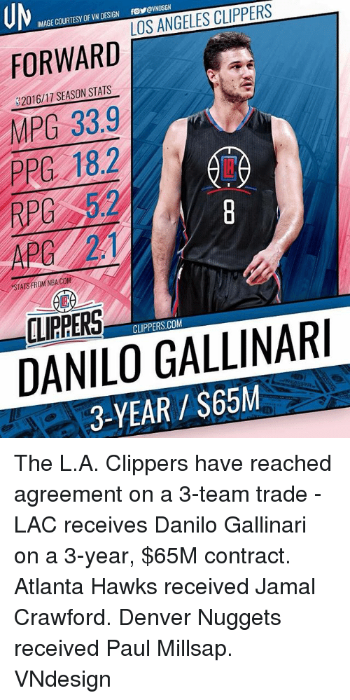 Atlanta Hawks, Memes, and Nba: UM  IMAGE COURTESY OF VN DESIGN fo@VNDSGN  FORWARD  2016/17 SEASON STATS  MPG 33.9  PPE 18.2  RPC  STATS FROM NBA.COM  CLIPPERS.COM  DANILO GALLINARI  3-YEAR $65M The L.A. Clippers have reached agreement on a 3-team trade - LAC receives Danilo Gallinari on a 3-year, $65M contract. Atlanta Hawks received Jamal Crawford. Denver Nuggets received Paul Millsap. VNdesign