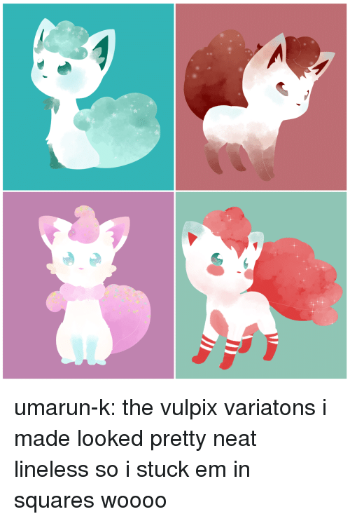 Art Meme: umarun-k: the vulpix variatons i made looked pretty neat lineless so i stuck em in squares woooo