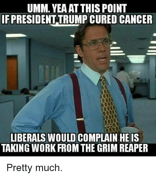 grim reapers: UMM. YEAAT THIS POINT  FPRESIDENTTRUMP CURED CANCER  LIBERALS WOULD COMPLAIN HE IS  TAKING WORK FROM THE GRIM REAPER Pretty much.