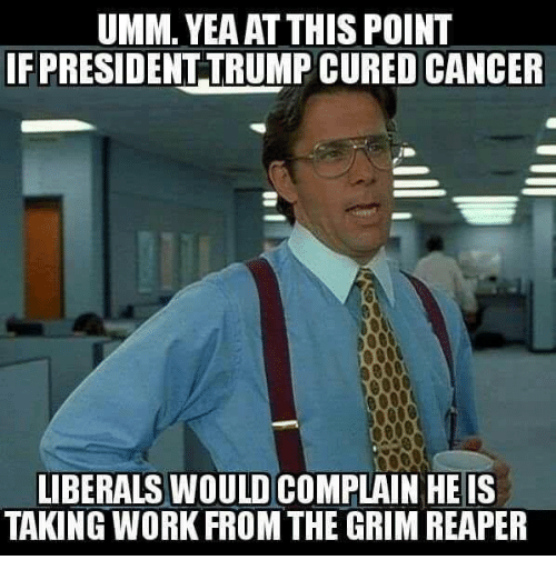 grim reapers: UMM. YEAAT THIS POINT  IF PRESIDENT TRUMP CURED CANCER  LIBERALS WOULD COMPLAIN HE IS  TAKING WORK FROM THE GRIM REAPER
