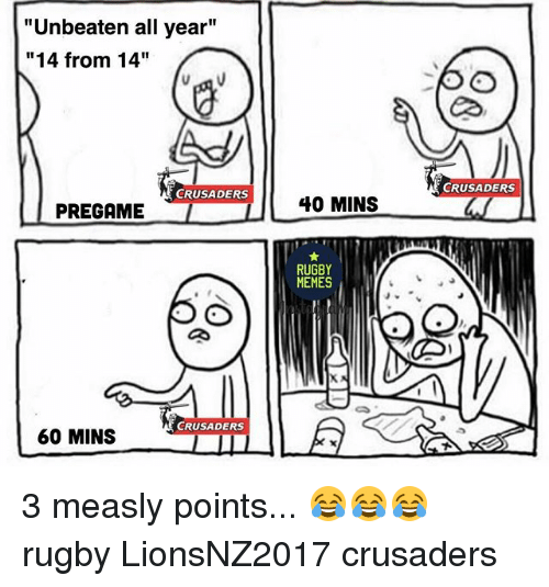 "crusaders: ""Unbeaten all year""  ""14 from 14""  CRUSADERS  PREGAME  CRUSADERS  60 MINS  40 MINS  RUGBY  MEMES  CRUSADERS 3 measly points... 😂😂😂 rugby LionsNZ2017 crusaders"