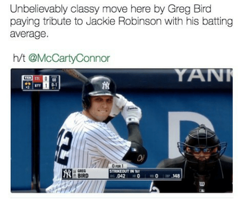 Mlb, Jackie Robinson, and Move: Unbelievably classy move here by Greg Bird  paying tribute to Jackie Robinson with his batting  average  h/t @McCarty Connor  YANT  n GREG  RIKLOUT IN ST  BIRD  .042