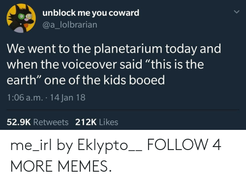 """booed: unblock me you  coward  @a_lolbrarian  We went to the planetarium today and  when the voiceover said """"this is the  earth"""" one of the kids booed  1:06 a.m. 14 Jan 18  52.9K Retweets 212K Likes me_irl by Eklypto__ FOLLOW 4 MORE MEMES."""