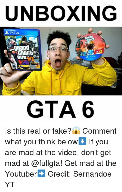 gta 6: UNBOXING  PSA  heft  auti  GTA 6 Is this real or fake?😱 Comment what you think below⬇️ If you are mad at the video, don't get mad at @fullgta! Get mad at the Youtuber➡️ Credit: Sernandoe YT