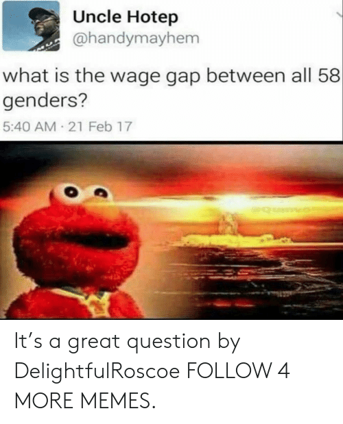 21 Feb: Uncle Hotep  @handymayhem  what is the wage gap between all 58  genders?  5:40 AM 21 Feb 17  Qumvo It's a great question by DelightfulRoscoe FOLLOW 4 MORE MEMES.