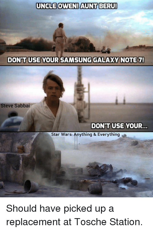 Funny Memes For Aunts : Uncle owen aunt beru dont use your samsung galaxy note