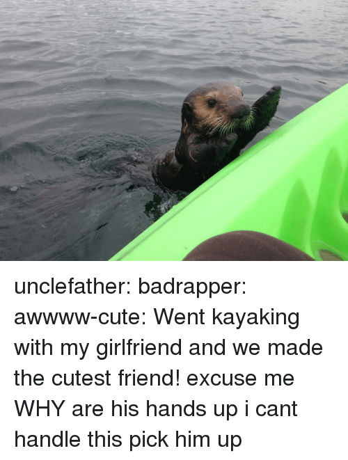 Cant Handle This: unclefather: badrapper:  awwww-cute:  Went kayaking with my girlfriend and we made the cutest friend!  excuse me WHY are his hands up i cant handle this  pick him up