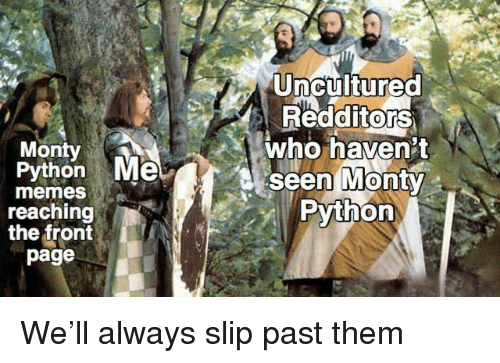 monty python: Uncultured  RedditorS  who haven't  seen MontY  Python  0  Monty  Python Me  0  memes  reaching  the front  page We'll always slip past them